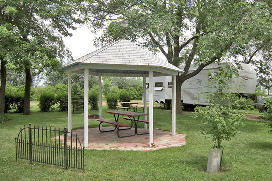 Gazebo with picnic table